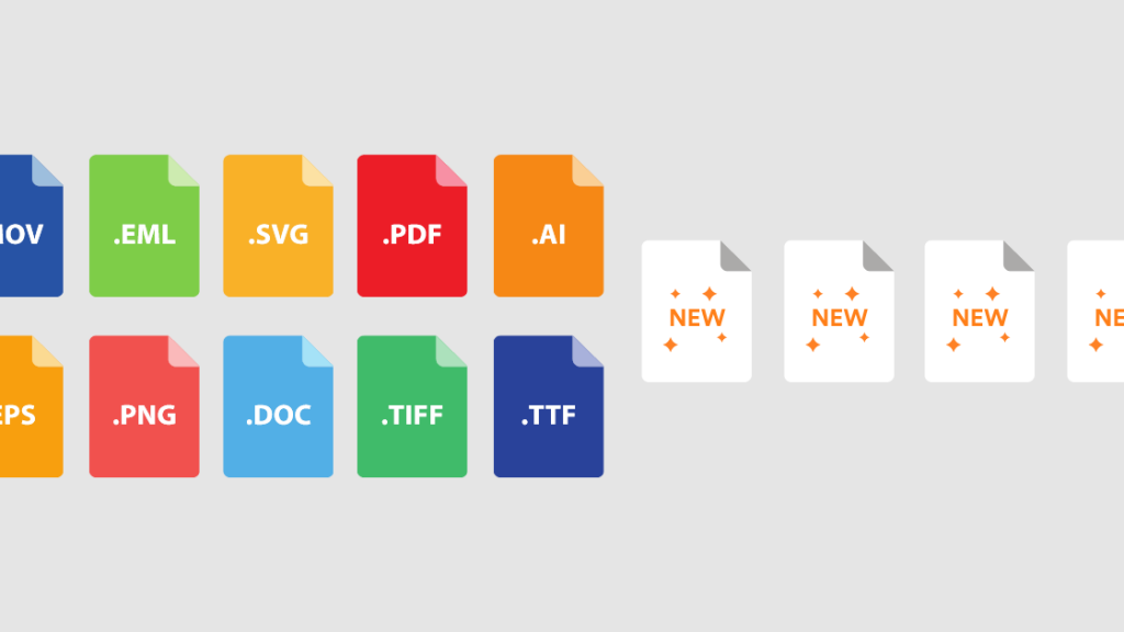 Names of common file types plus new file formats